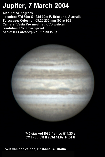 Jupiter image captured on the 7th of March 2004