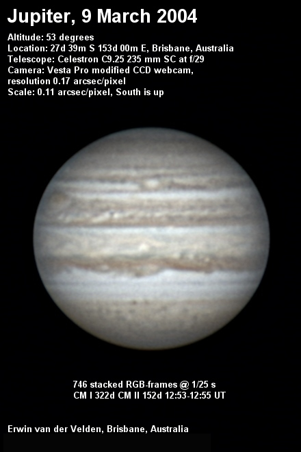 Jupiter image captured on the 9th of March 2004