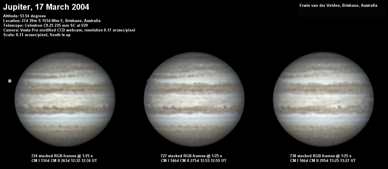 Jupiter image captured on the 17th of March 2004