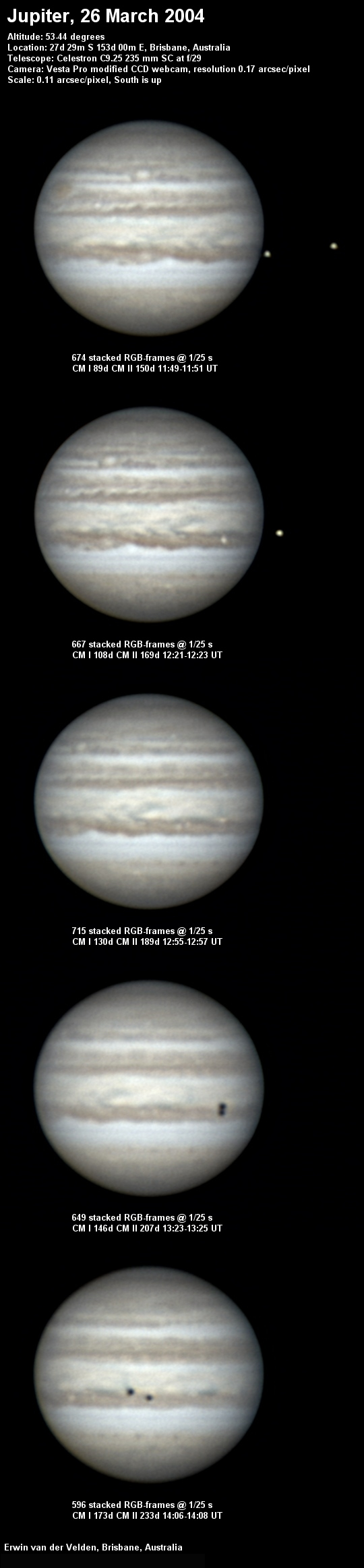 Jupiter image captured on the 26th of March 2004