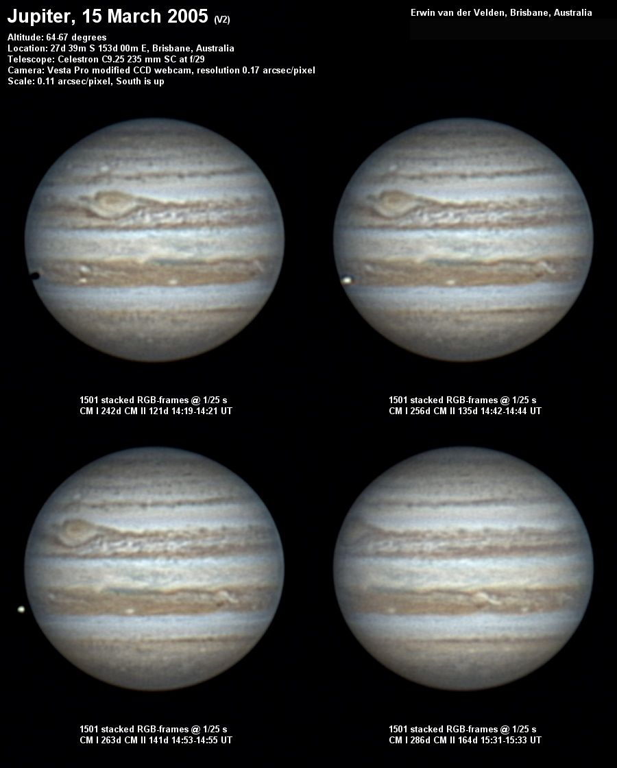 Jupiter image captured on the 15th of March 2005