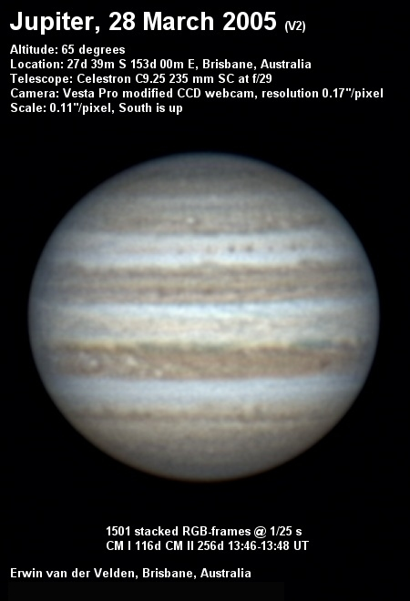 Jupiter image captured on the 28th of March 2005