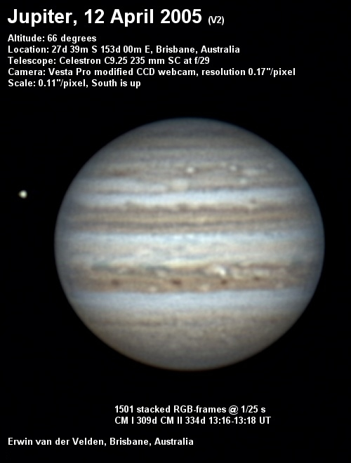 Jupiter image captured on the 12th of April 2005