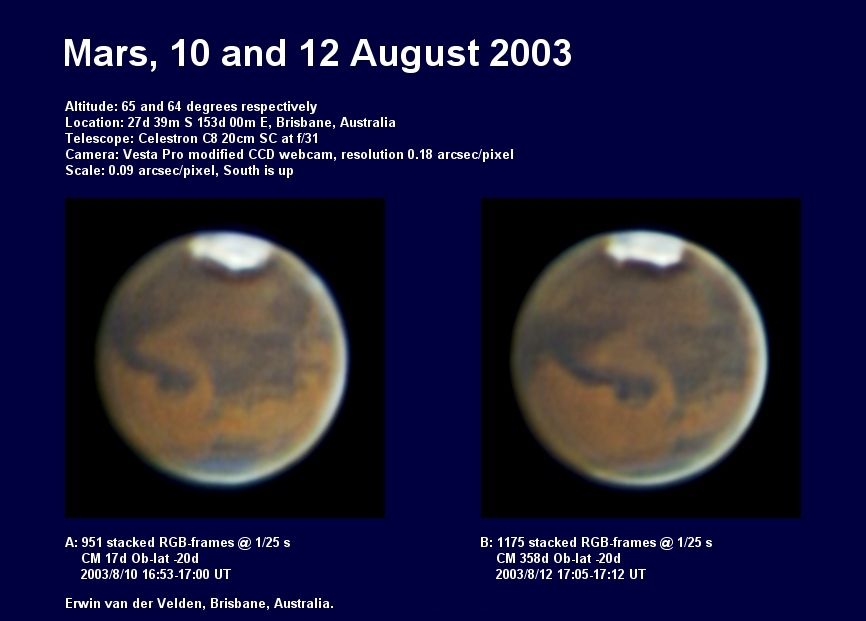 Mars images captured on the 10th and 12th of August 2003