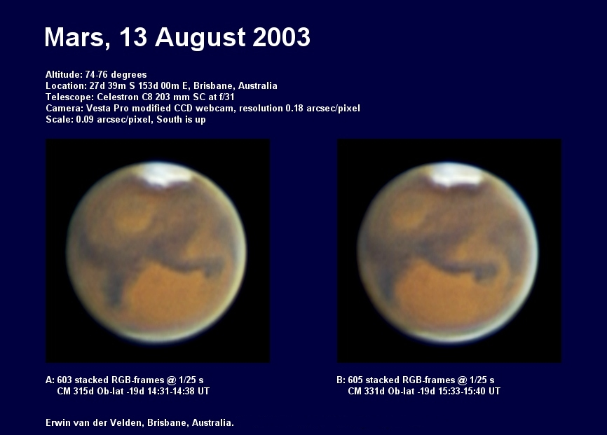 Mars images captured on the 13th of August 2003