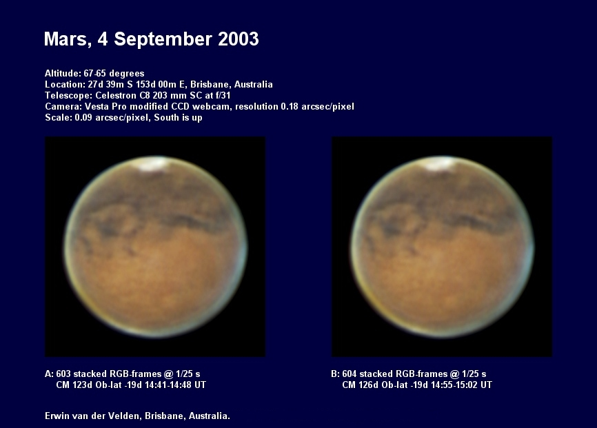 Mars images captured on the 4th of September 2003