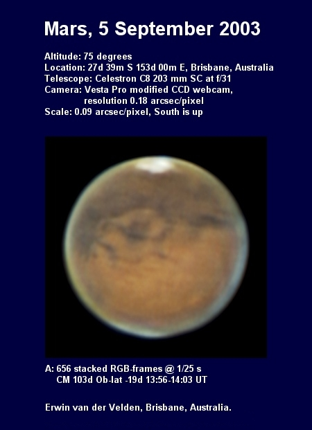 Mars image captured on the 5th of September 2003