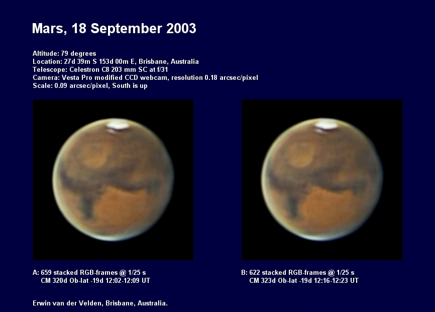 Mars image captured on the 18th of September 2003