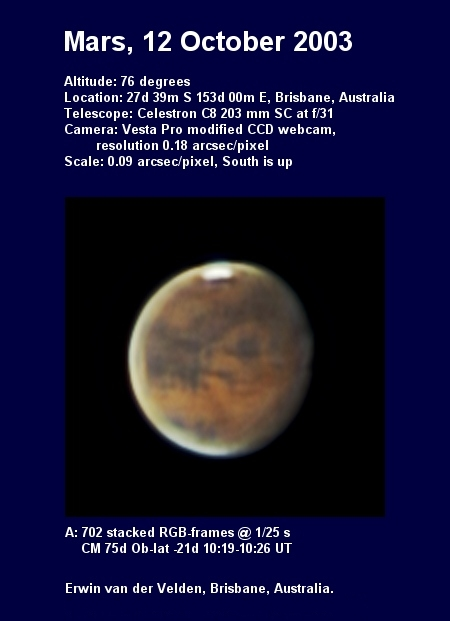 Mars image captured on the 12th of October 2003