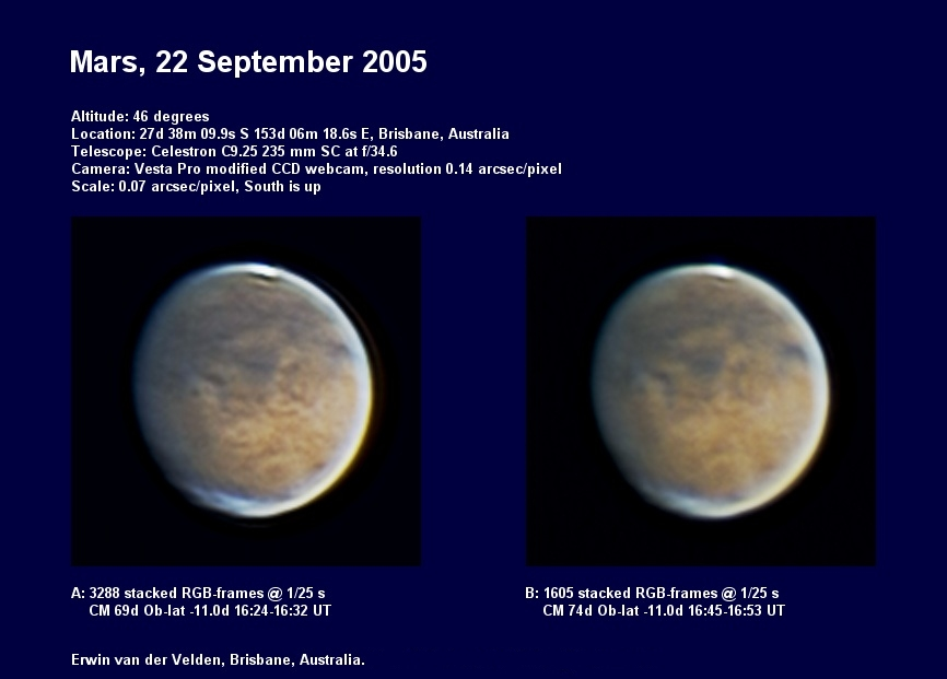 Mars image captured on the 22nd of September 2005
