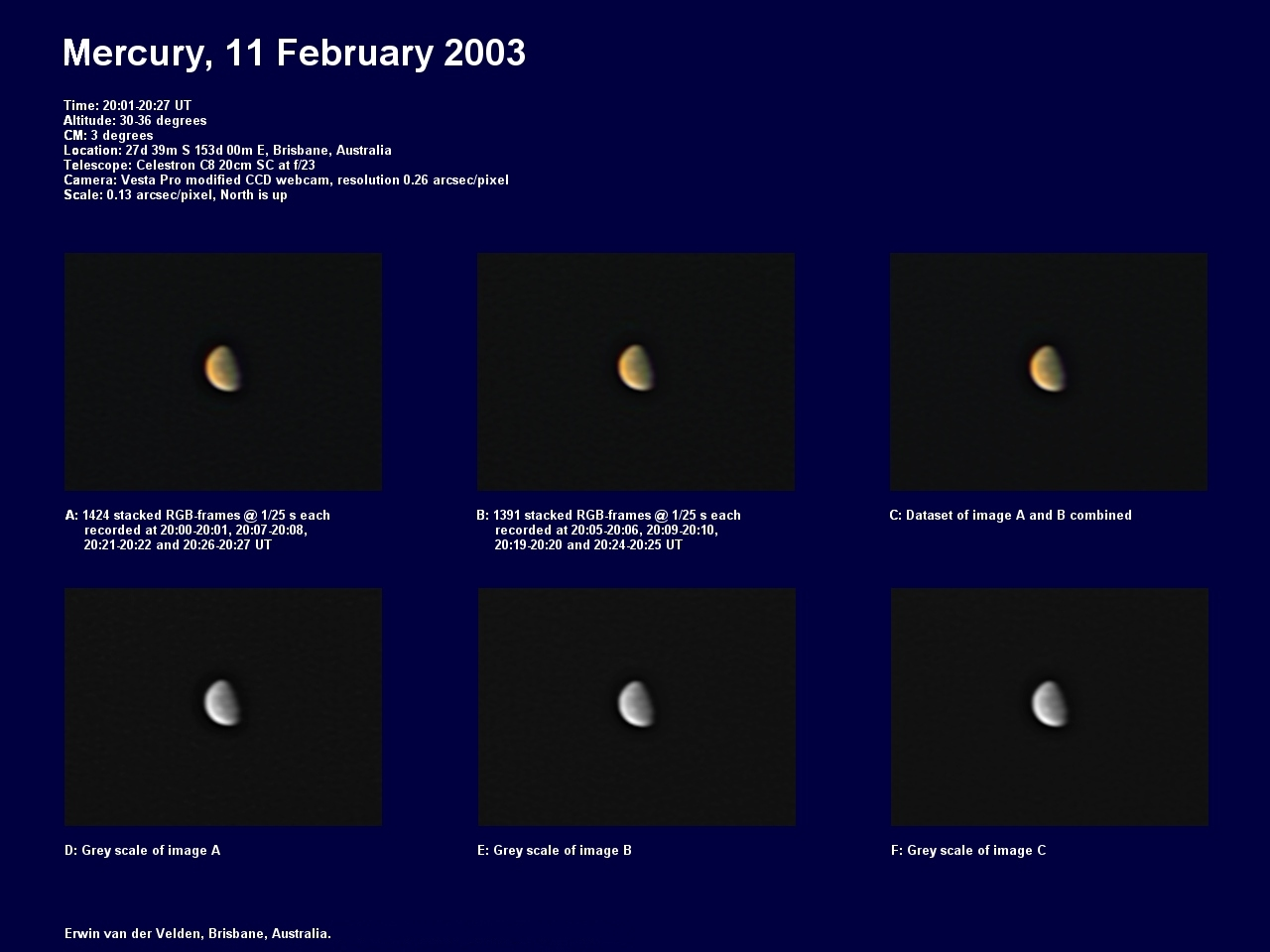 Mercury image captured on the 11th of February 2003