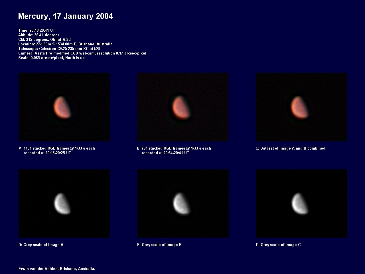 Mercury image captured on the 17th of January 2004