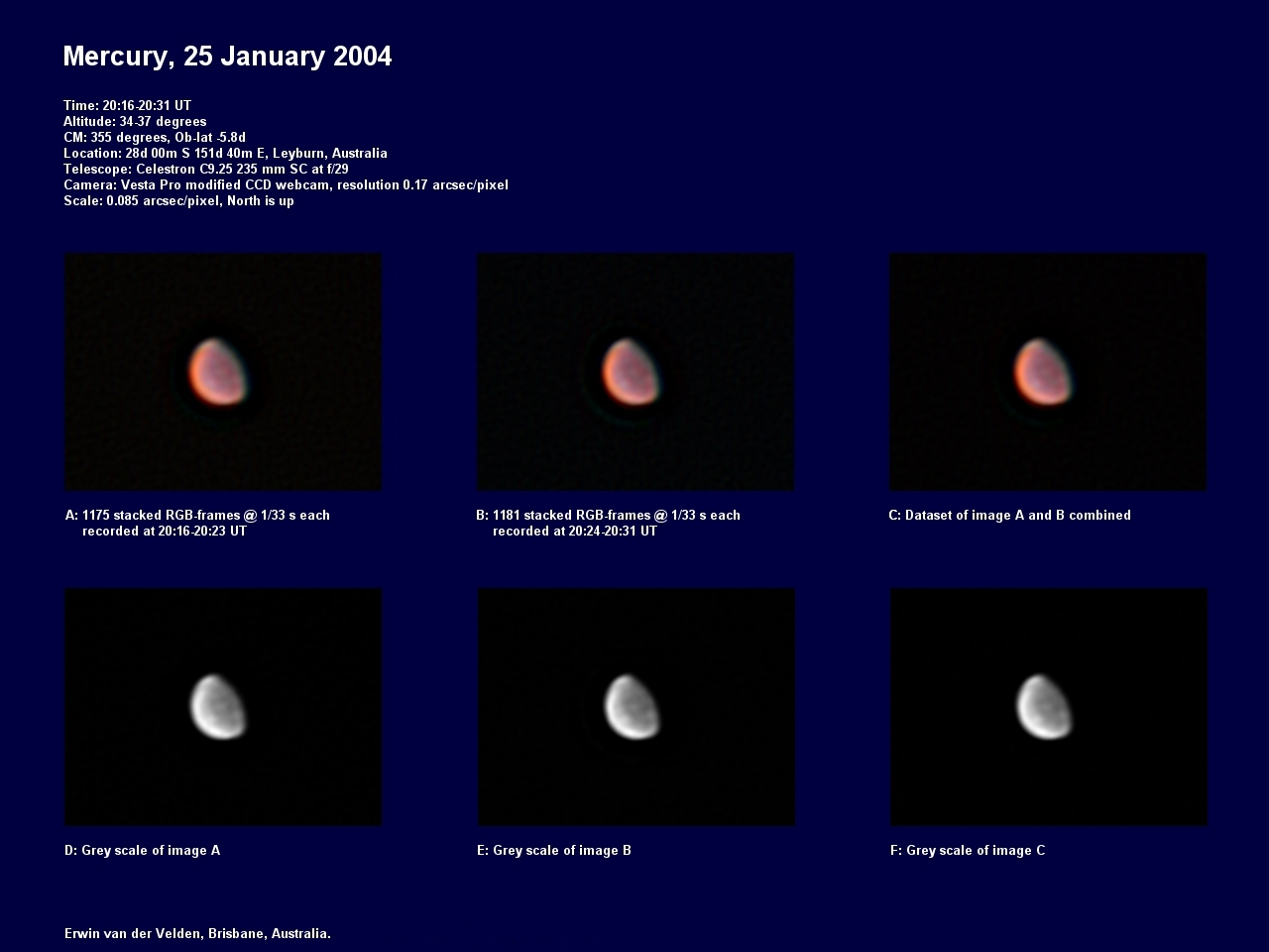 Mercury image captured on the 25th of January 2004