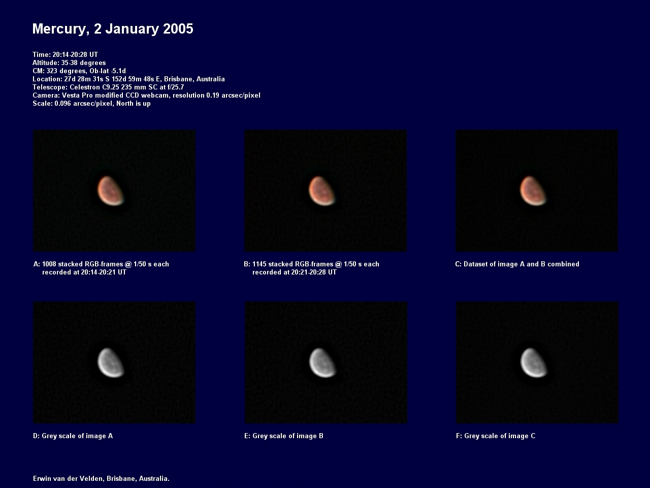 Mercury image captured on the 2nd of January 2005