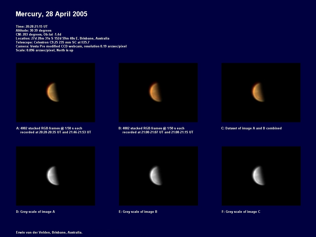 Mercury image captured on the 29th of April 2005
