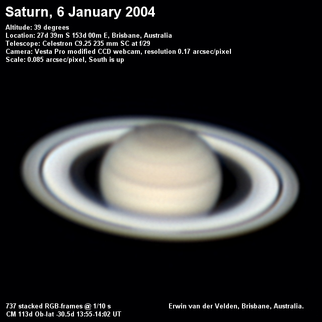 Saturn image captured on the 6th of January 2004