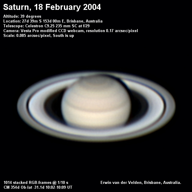 Saturn image captured on the 18th of February 2004