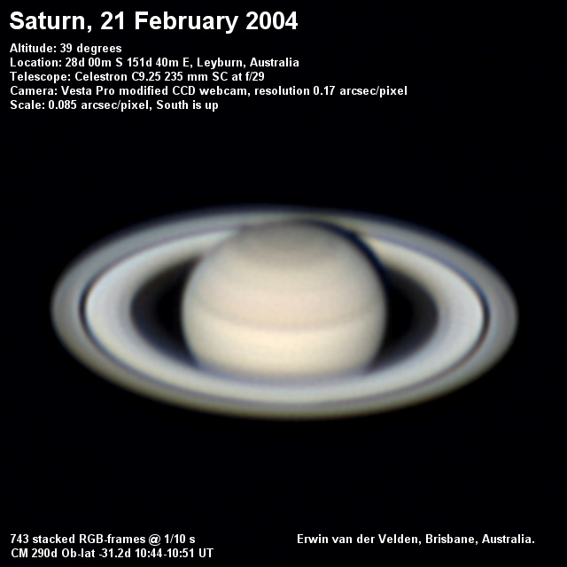 Saturn image captured on the 21st of February 2004