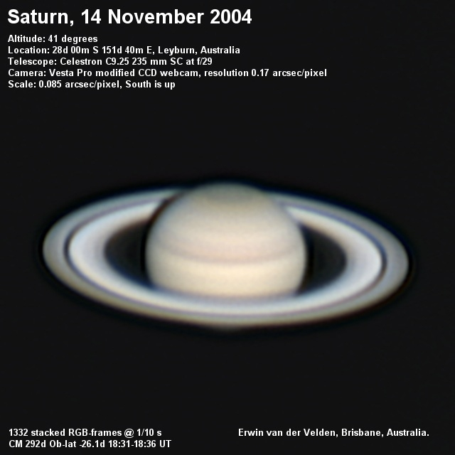 Saturn image captured on the 14th of November 2004